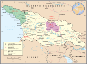 Map of Georgia, indicating disputed areas