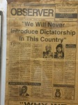 Newspaper front pages from the day of Jammeh's coup