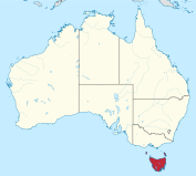 Position of Tasmania, in the southeast corner of the map of Tasmania, 260 km south of the Australian mainland