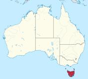 Position of Tasmania, in the southeast corner of the map of Tasmania, 260 km south of the Australian mainland