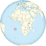 Global position of Saint Helena, with respect to the UK