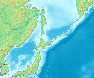 Map showing Kuril Island chain between Hokkaido in Japan and Kamchatka in Russia. The sea of Okhotsk and the island of Sakhalin to the west and the Pacific Ocean to the east