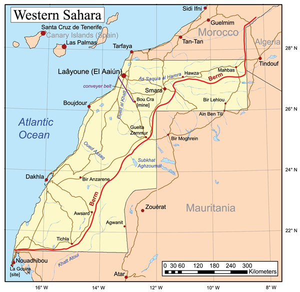 Map of Western Sahara's position on the west coast of Africa, between Morocco and Mauritania