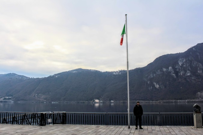 The shorefront at Campione d'Italia, complete with Italian flag